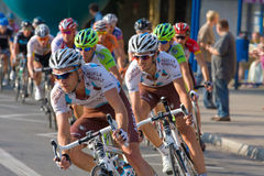 Krakow, POLAND - august 6: Cyclists at stage 7 of Tour de Pologne bicycle race on August 6, 2011 in Krakow, Poland. Royalty Free Stock Photo