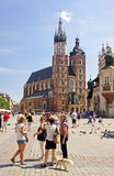 KRAKOW, POLAND - AUGUST 1, 2015: The historic Mariacka Cathedral Stock Photo