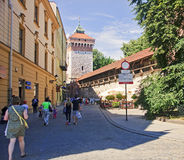 KRAKOW, POLAND - AUGUST 1, 2015: Saint Florian s Gate on 1 Augus royalty free stock photo