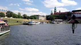Wawel Castle on river cruise - Krakow - Poland stock video