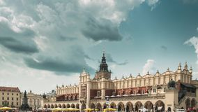 Krakow, Poland. Main Market Square In Cloudy Summer Day. Famous Landmark. Unesco World Heritage Site stock video footage