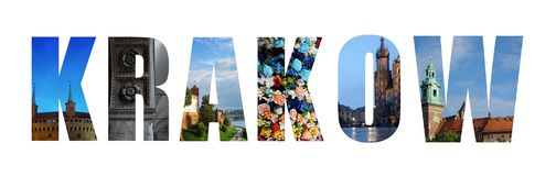Krakow Poland collage. Collage of Krakow on white, made of images from around the Polish city Royalty Free Stock Photography