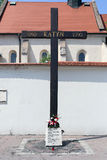 Krakow, Poland. The cross in memory of Katyn execution Stock Photo