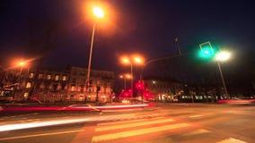 KRAKOW, POLAND - Crossroads in the center of Krakow at night time. stock video