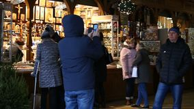 Cloth Hall. KRAKOW, POLAND - DECEMBER 2017; Gallery with stalls in the Cloth Hall stock footage