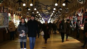 Cloth Hall. KRAKOW, POLAND - DECEMBER 2017; Gallery with stalls in the Cloth Hall stock video footage