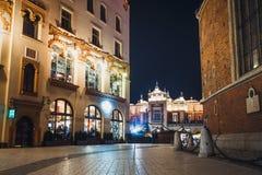 Main Market Square at night in Krakow, Poland Royalty Free Stock Photography