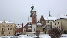 Wawel Cathedral. KRAKOW, POLAND - DECEMBER 2017; Wawel Cathedral with snow stock footage