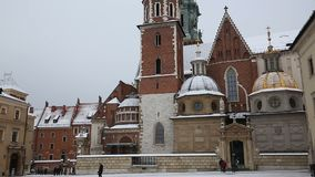Wawel Cathedral. KRAKOW, POLAND - DECEMBER 2017; Wawel Cathedral with snow stock video footage