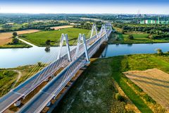 Krakow, Poland.  Double cable-stayed bridge over the Vistula riv Royalty Free Stock Photos