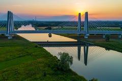 Krakow, Poland.  Double cable-stayed bridge over the Vistula riv Stock Photo