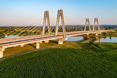 Krakow, Poland.  Double cable-stayed bridge over the Vistula riv Stock Images