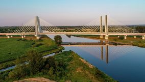 Krakow, Poland.  Double cable-stayed bridge over the Vistula river stock video footage
