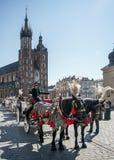 KRAKOW, POLAND/EUROPE - 19 DE SETEMBRO: Transporte e cavalos no Kr Imagem de Stock