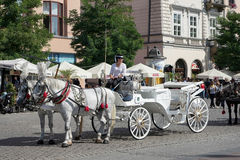 KRAKOW, POLAND/EUROPE - SEPTEMBER 19 : Carriage and horses in Kr Royalty Free Stock Photos