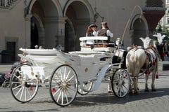 KRAKOW, POLAND/EUROPE - SEPTEMBER 19 : Carriage and horses in Kr Stock Photo