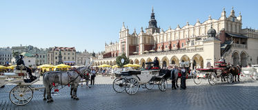 KRAKOW, POLAND/EUROPE - SEPTEMBER 19 : Carriage and horses in Kr royalty free stock images