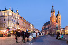 Krakow, Poland. Evening view with Mariacki Church