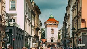 Krakow, Poland. Florianska Gate Krakow, the Medieval Florianska - St Florin`s. UNESCO World Heritage Site stock video