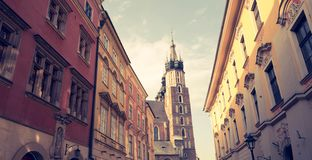 Krakow in Poland / Florianska street. And historical church stock photography