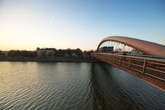 KRAKOW, POLAND -  Footbridge Ojca Bernatka - bridge over the Vistula River. Stock Images