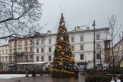 KRAKOW, POLAND - JANUARY 01, 2015: Christmas Tree on the All Saints square in historical part of city. Christmas Tree on the All Saints square in historical royalty free stock images