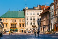 Small market in Krakow, Poland. Old town of Cracow listed as unesco heritage site. Krakow, Poland - January 14, 2018: Small market in Krakow, Poland. Old town of royalty free stock images