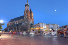 KRAKOW, POLAND - JUL 3: View of Main Market Square Kosciol Mari Stock Image