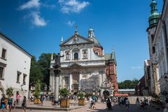 Krakow, Poland, July 2017 Mary Magdalene square and Church of St Peter and St Paul. Krakow, Poland, July 2017 Mary Magdalene square royalty free stock image