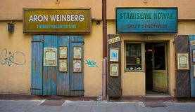 Shops in Kazimierz. Krakow, Poland - July 9th 2018. Traditional shops in the popular Krakow district of Kazimierz Royalty Free Stock Photography