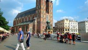 Breakdancers in Krakow center, Poland stock footage