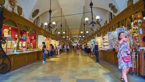 In Cloth Hall of Krakow, Poland stock video footage
