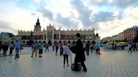 Mime performance in Krakow, Poland stock video footage