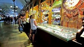 The jewelry stall in Cloth Hall Sukiennice, Krakow, Poland stock video