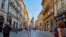 Central streets of Krakow, Poland stock video footage