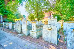 The medieval tombstones in Remah Cemetery in Krakow, Poland stock image