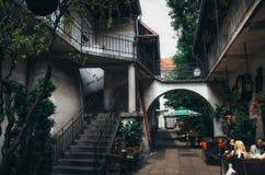 KRAKOW, POLAND - JUNE 26, 2015: Old Jewish courtyard of Kazimierz in Krakow. Royalty Free Stock Photography