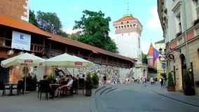 The cityscape of old Krakow, Poland stock footage