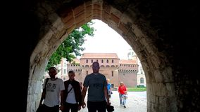 The arch of St Florian Gate, Krakow, Poland stock video