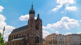 Krakow Poland June 2019. St. Mary`s Basilica in the old town. timelapse stock video footage