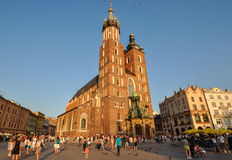 Krakow, Poland - June 14, 2012: St. Mary`s Church at sunset in Krakow Royalty Free Stock Photos