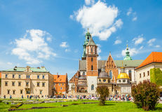 KRAKOW, POLAND - JUNE 08, 2016: Tourists visiting historical complex of Wawel Royal Castle and Cathedral in Krakow, Poland - June Royalty Free Stock Photos