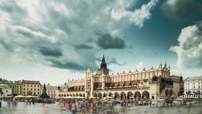 Krakow, Poland. Main Market Square In Cloudy Summer Day. Famous Landmark. Unesco World Heritage Site stock footage