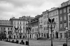 Krakow, Poland. Maly Rynek in black and White. Cracow Krakow, Poland, winter 2016. Maly Rynek Little Town Square in black and white Royalty Free Stock Photo