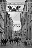 Krakow, Poland. Maly Rynek in black and White. Cracow Krakow, Poland, winter 2016. Street connecting Maly Rynek Little Town Square and Old Town Square with Royalty Free Stock Images