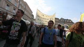KRAKOW, POLAND - Marijuana Marches is a global movement manifesto fighting for a rational approach towards hemp plant. stock video