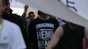 KRAKOW, POLAND - Marijuana Marches is a global movement manifesto fighting for a rational approach towards hemp plant. KRAKOW, POLAND - MAY 9, 2015 stock video footage