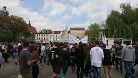 KRAKOW, POLAND - Marijuana Marches is a global movement manifesto fighting for a rational approach towards hemp plant. KRAKOW, POLAND - MAY 9, 2015 stock footage
