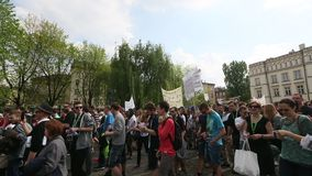 KRAKOW, POLAND - Marijuana Marches is a global movement manifesto fighting for a rational approach towards hemp plant. KRAKOW, POLAND - MAY 9, 2015 stock video