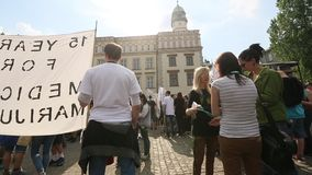 KRAKOW, POLAND - Marijuana Marches is a global movement manifesto fighting for a rational approach towards hemp plant. stock footage
